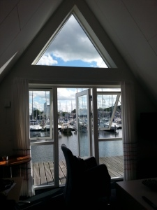 Uitzicht vanaf het boothuisje van Hotel Strandtangen