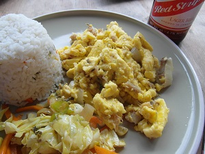 Local dish Ackee and saltfish Jamaica